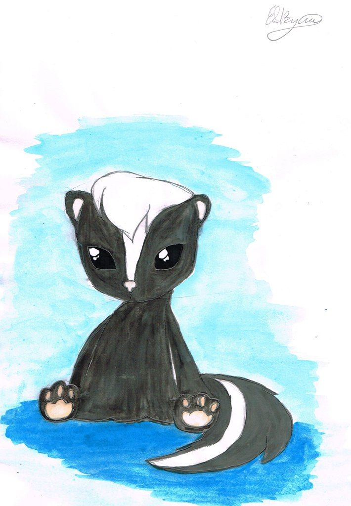 A cute painting of System the alien skunk from Upbeats.