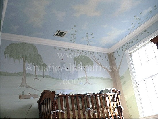 Babys nursery room mural with hand painted clouds on the for Ceiling mural in smokers lounge