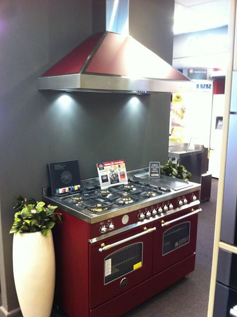 """The New Heritage Range by BERTAZZONI now Exclusively at Prestige Appliances Chatswood - just arrived from Italy in """"VINO"""" Matt Burgundy Red & matching Rangehood."""