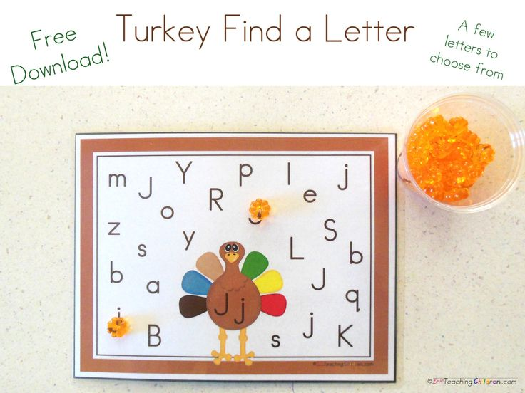 Thanksgiving is just around the corner!  Here is a free cute Turkey printable for practicing letter recognition… http://loveteachingchildren.com/turkey-letter-find-printable/