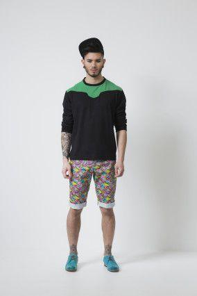 Black & Green LS Knit Top & Graffiti Shorts