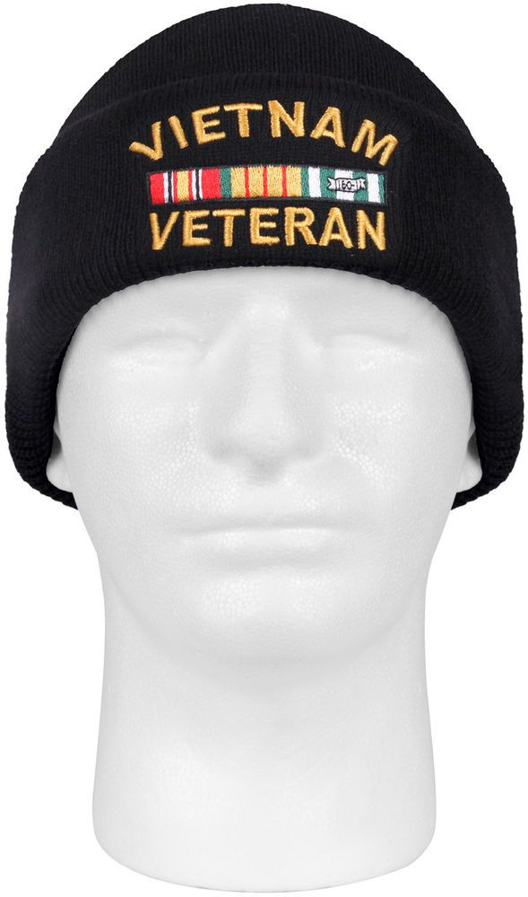 Black Vietnam Veteran Watch Cap Acrylic Embroidered Military Vet Winter Hat   Rothco  WatchCap f3d5d57c017