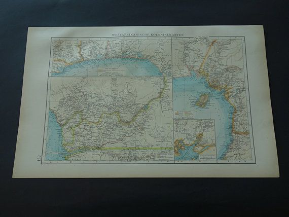 GUINEA GULF colonial map 1899 original old by VintageOldMaps