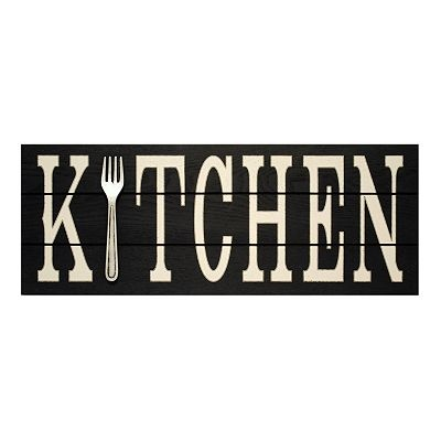 like this idea for a Kitchen Wall Plaque. wouldn't be hard to stencil on a black board.
