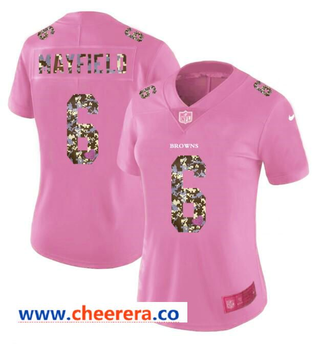7c68d78c45f Nike Browns 6 Baker Mayfield Pink Camo Fashion Women Limited Jersey ...