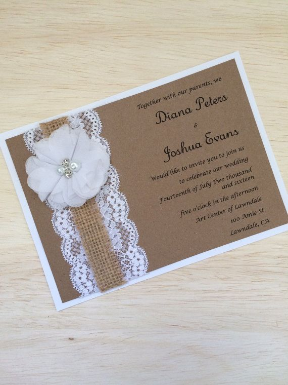 This listing is for sample of a kraft invitation layered on white card stock and embellished with white lace and burlap ribbon and white