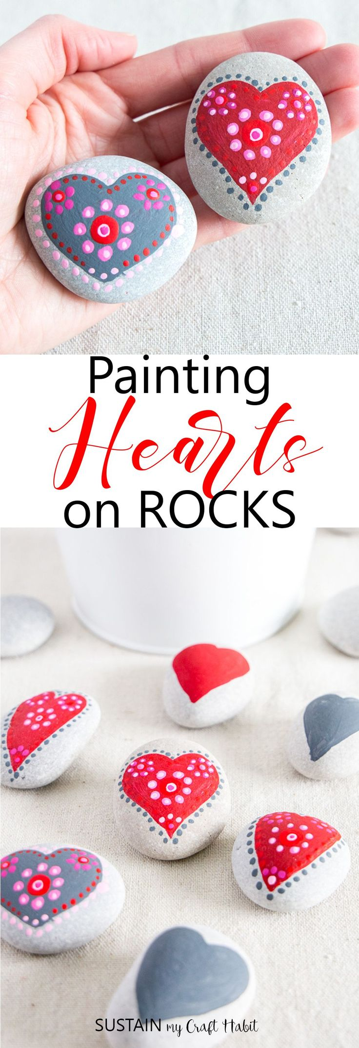 Beautiful heart painted rocks | Red, white and pink Valentine's decor  | Step-by-step #rockpainting tutorial. #easydecoratingideas