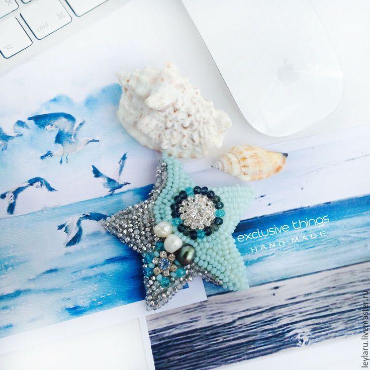"""Купить Брошь """"Морская гармония"""" - голубой, бирюзовый, серый, морская звезда…"""