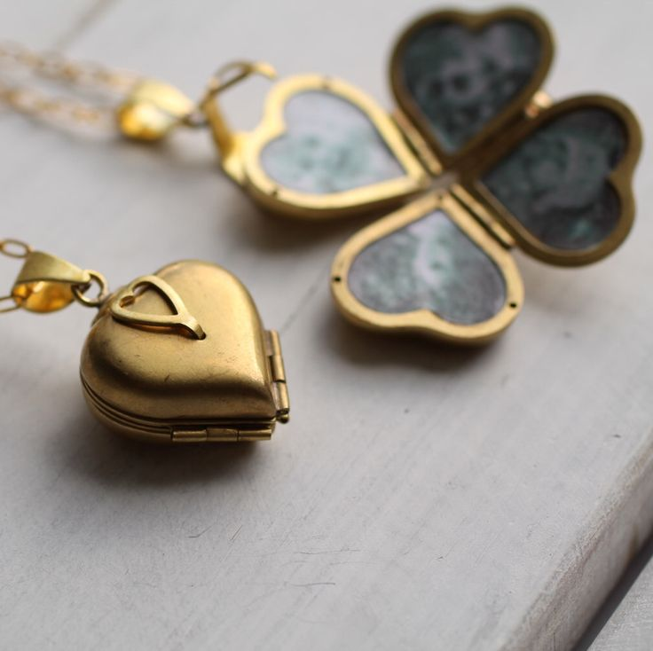 Friends and Family Locket ... Heart Locket Four Photos Gold Vintage Brass by SilkPurseSowsEar on Etsy https://www.etsy.com/listing/186942224/friends-and-family-locket-heart-locket