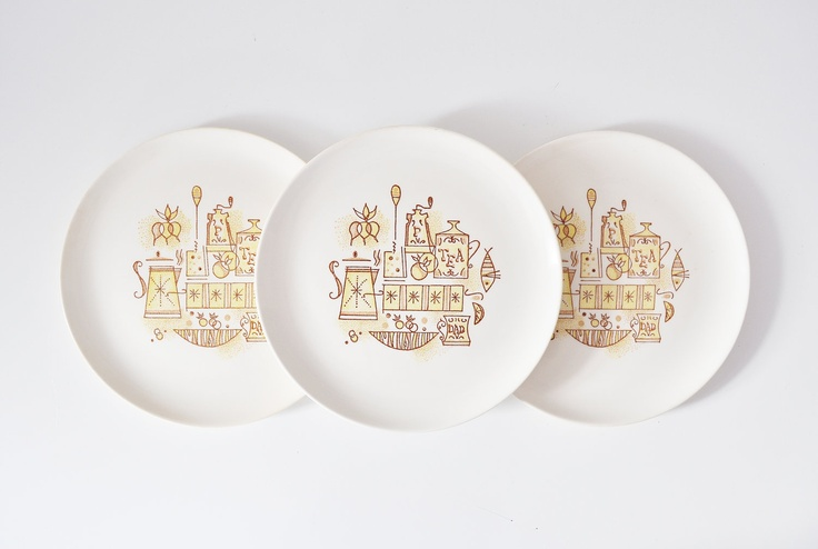 Six MidCentury Dinner Plates by Taylor Smith and by thewhitepepper, $32.50