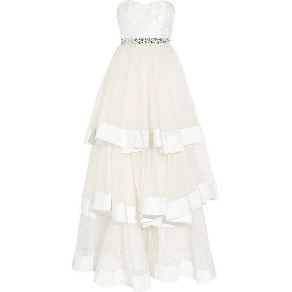 Rachel Gilbert Ava tiered silk-organza and satin gown (1.755 BRL) ❤ liked on Polyvore featuring dresses, gowns, vestidos, wedding, long dresses, white beaded dress, strapless long dresses, see-through dresses, white see through dress and white satin dress