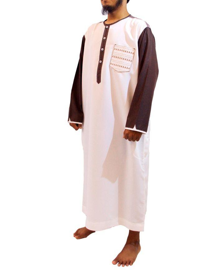 Samase Baju Jubah Pria Warna Putih Coklat-Lengan Panjang Kerah Oblong
