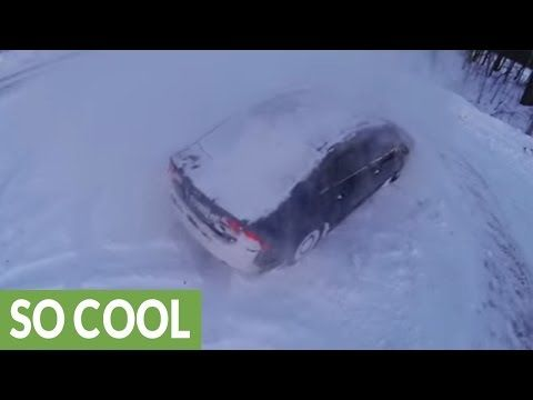 Epic Honda snow drifting filmed with drone http://j.mp/2mYtXA6