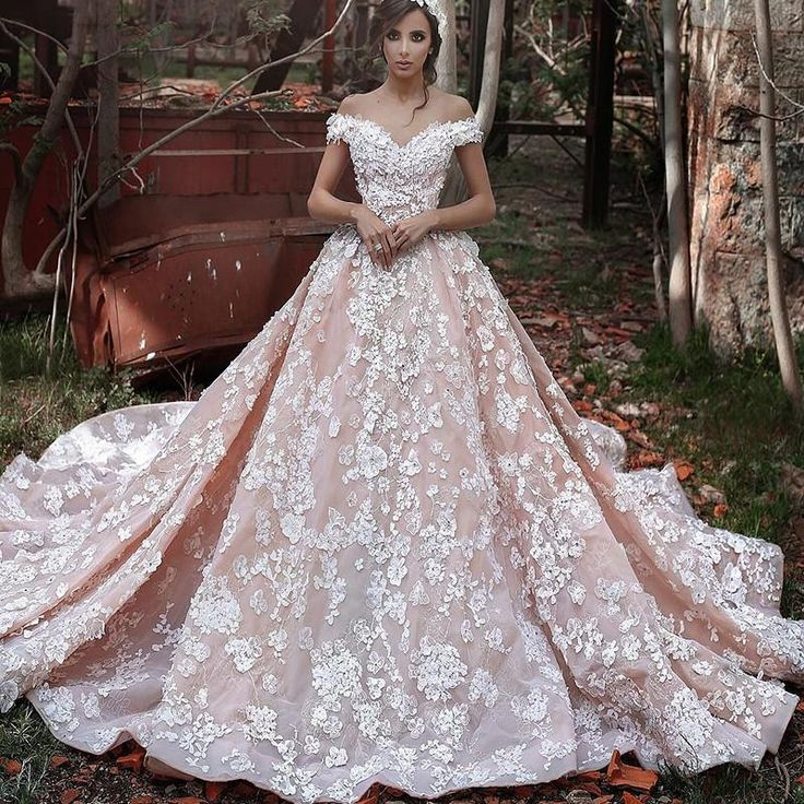 Charming Blush Pink 3d Florals Wedding Dresses 2016 A Line Off Shoulder Plus Size Italy Arabic Dubai Court Train Bridal Gowns Vestido Novia Wedding Dresses Under 200 Wedding Gown Rental From In_marry, $513.17| Dhgate.Com