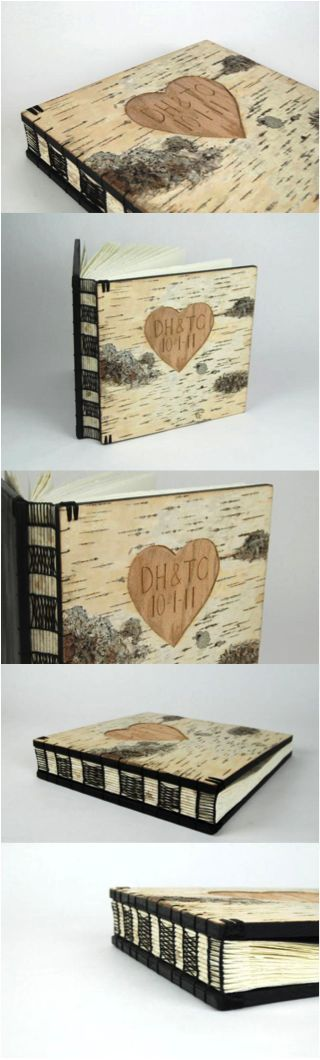 Custom carved birch photo album by Three Trees Bindery. Can be personalized with your initials / name and a date of your choice. Perfect for storing wedding photos. | Made by people who care on Hatch.co