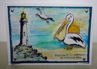 BaRb'n'ShEllcreations-Kaszazz Ocean cards Pelican - BaRb