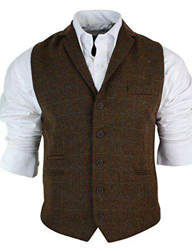 Mens Herringbone Tweed Classic Check Waistcoat Vintage Slim Fit Grey Blue Brown Cavani http://www.amazon.co.uk/dp/B0164J3Q0G/ref=cm_sw_r_pi_dp_apY1wb0TJC078