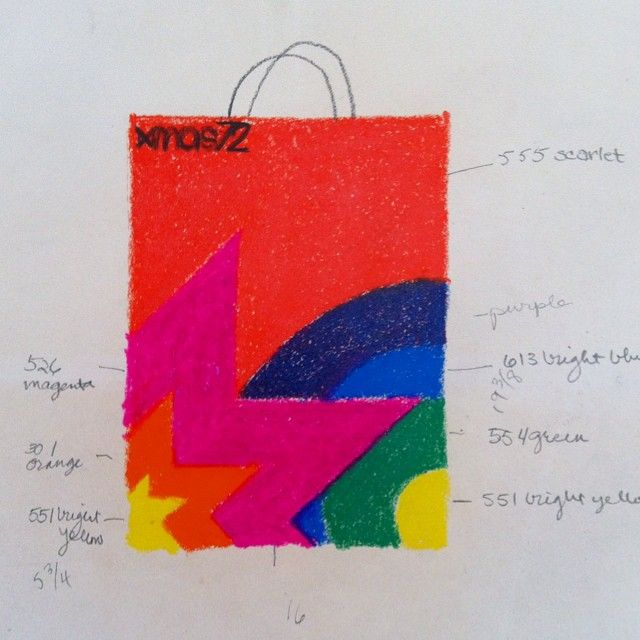 """109 Likes, 7 Comments - Vignelli Center (@vignellicenter) on Instagram: """"""""Xmas 72,"""" #Vignelli drawing for #bloomingdales packaging. Shared with visitors from SUNY Oswego…"""""""
