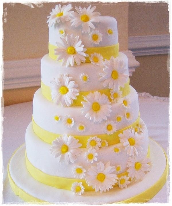 Fondant covered Daisy Wedding Cake by gina77 on Cake Central