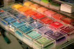 Acrylic jewelry drawers = storing small Ink Pads Storage