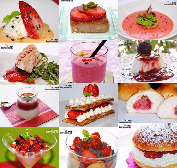 Deliciosa selección de recetas con la fresa como protagonista, desde entrantes salados hasta postres.  http://www.gastronomiaycia.com/2012/04/08/doce-recetas-con-fresas/
