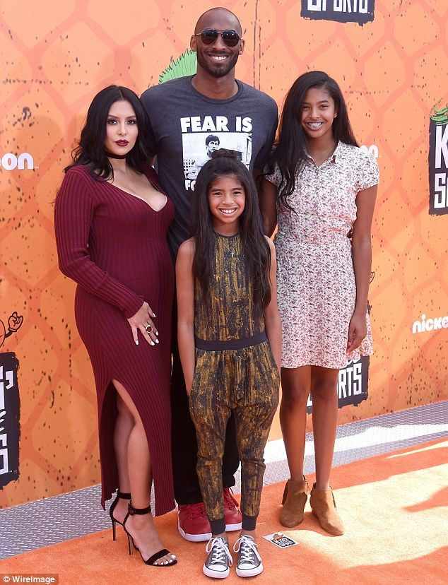 Happy:Kobe Bryant and his wife Vanessa welcomed a baby girl, reports TMZ; seen with daughters (l) Gianna, 10, and Natalia, 13, at the Kids' Choice Sports Awards on July 14