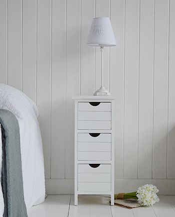 Dorset narrow white bedside tableheight width 25cm depth 25cm drawer w 18cm h 15cm - Bedside table ideas for small space minimalist ...
