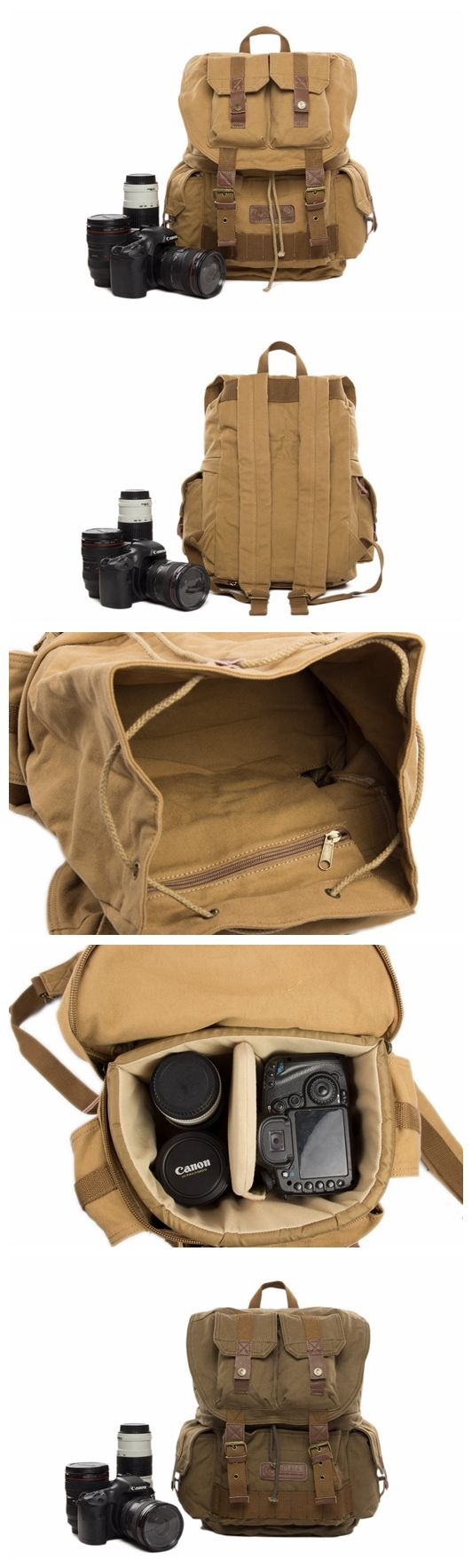 Waxed Canvas DSLR Camera Backpack, Professional Camera Bag, Travel Backpack F2001