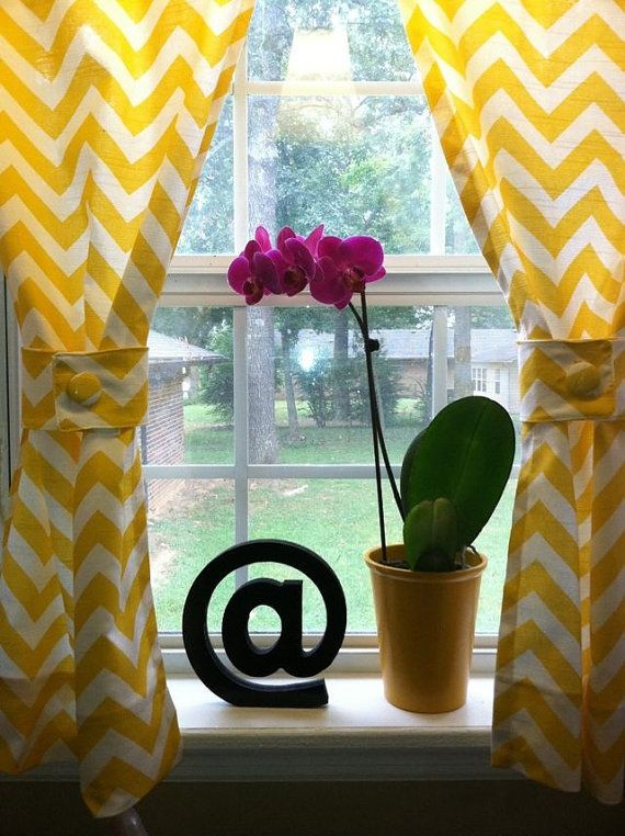 breezy yellow chevron curtains