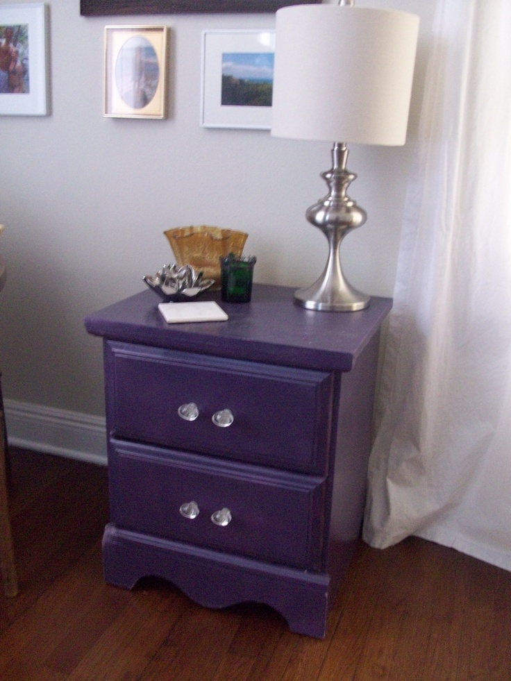 painted nightstand i like the feel of this ensemble... the silver lamp, the crystal hand pulls