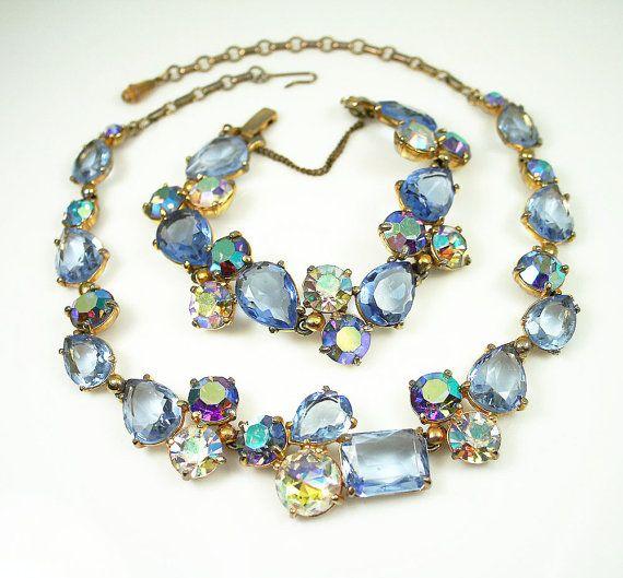 Vintage Schiaparelli Necklace Bracelet Blue Rhinestone Jewelry Set by zephyrvintage, $595.00