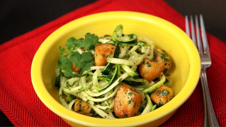 This easy, delicious recipe helps you eat more vegetables by swapping pasta for zucchini noodles. Learn how to make zucchini noodles with a spiralizer in this video.