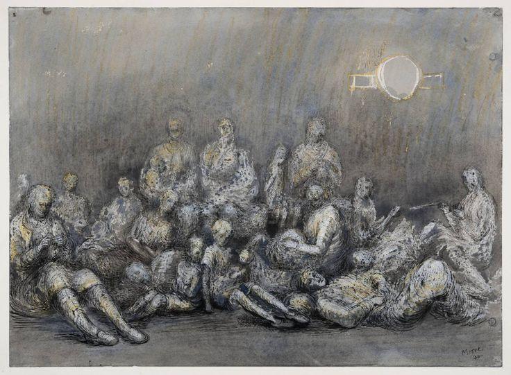 Henry Moore - 'Grey Tube Shelter', 1940 / waterverf, gouache, inkt en krijt op papier