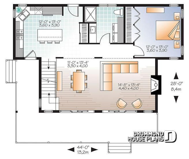1st Level Scandinavian Family Vacation House Plan, 3