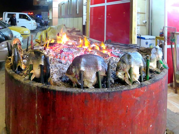 Iraq's national dish is masgouf, carp split down the middle and slowly grilled on a fire altar. Baghdad is famous for its masgouf restaurants along the Tigris River but it's also available in Basra.