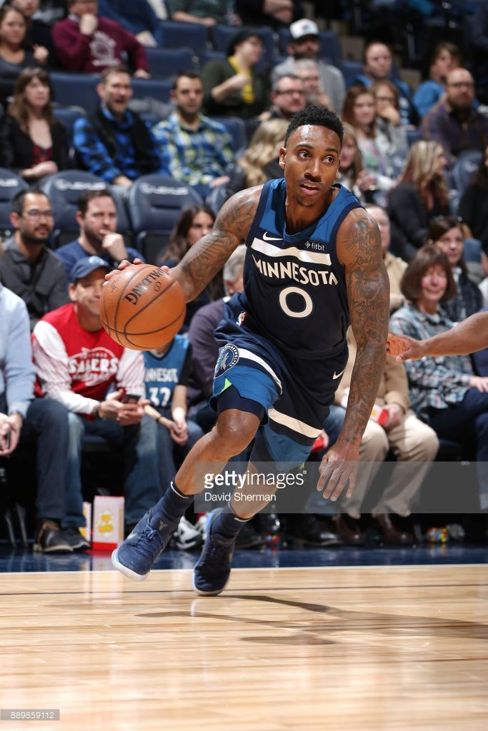 Jeff Teague of the Minnesota Timberwolves handles the ball against the Dallas Mavericks on December 10, 2017 at Target Center in Minneapolis, Minnesota.