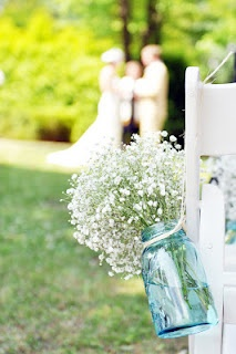 i love this: Blue Mason Jars, Spring Touch, Spring Weddings, Dsc0652Jpg 10631600, Babysbreath In Mason Jars, 10631600 Pixel, Aisle Flower Mason Jars, Simple Spring Wedding Ideas, Aisle Decor