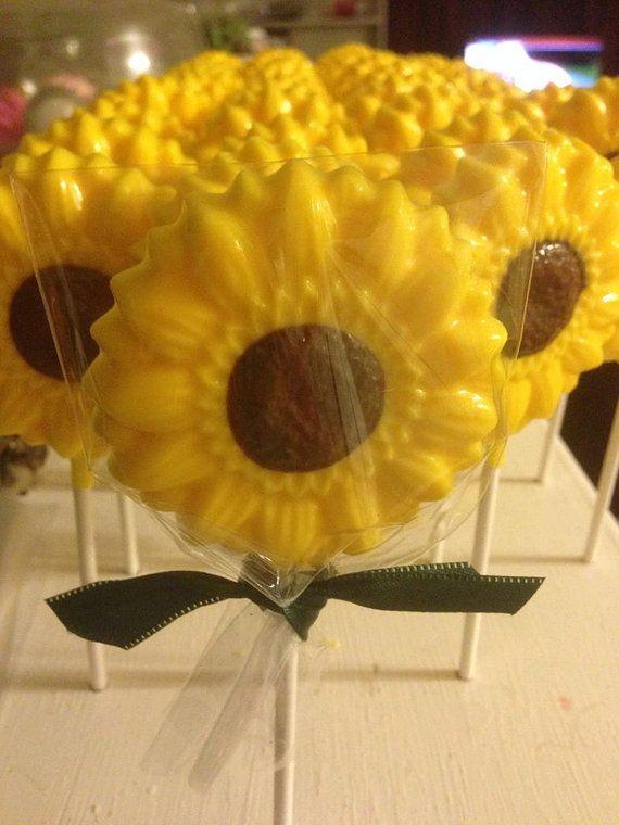 12 Sunflower Chocolate Lollipops Wedding by ChasingPinkFireFlies, $17.00