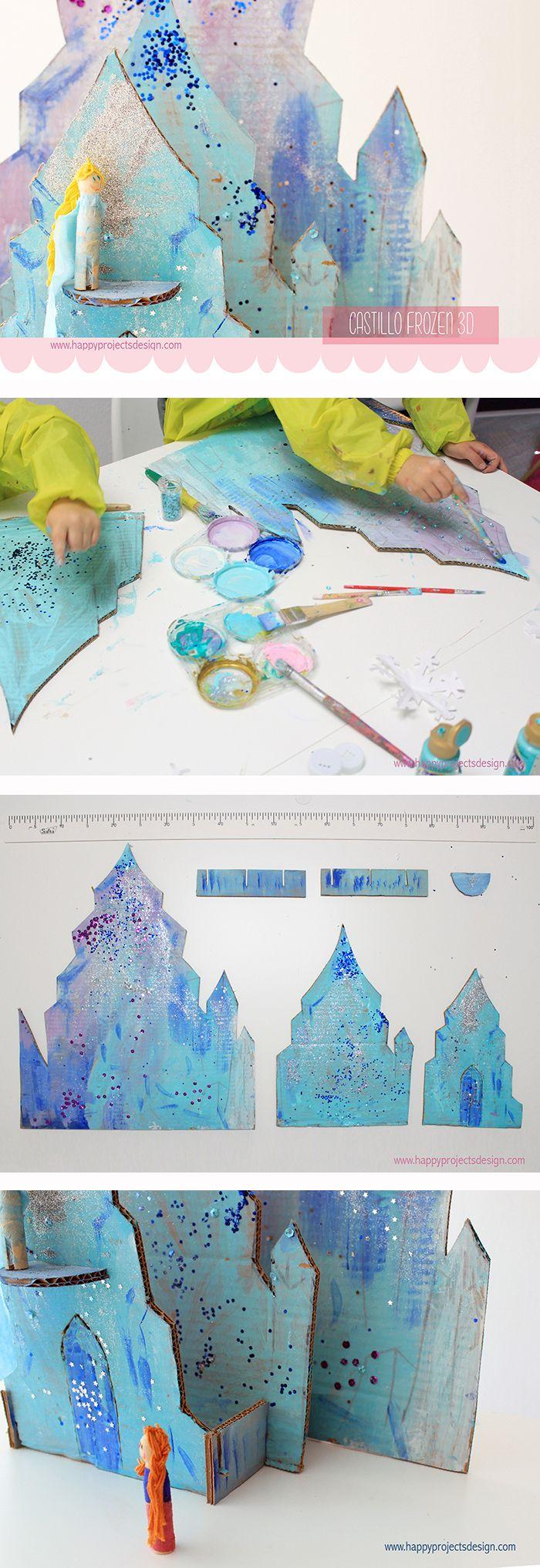 paso a paso para construir el castillo de hielo de Elsa #frozen.  #creakids…