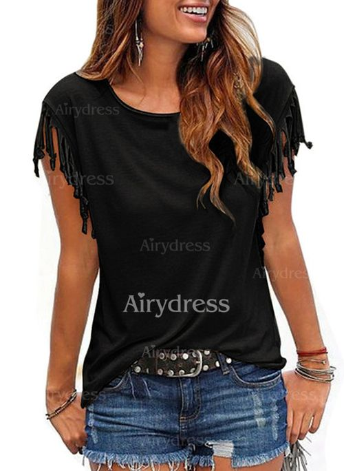 Blouses - $10.55 - Solid Casual Cotton Polyester Round Neckline Cap Sleeve Blouses (1645136478)