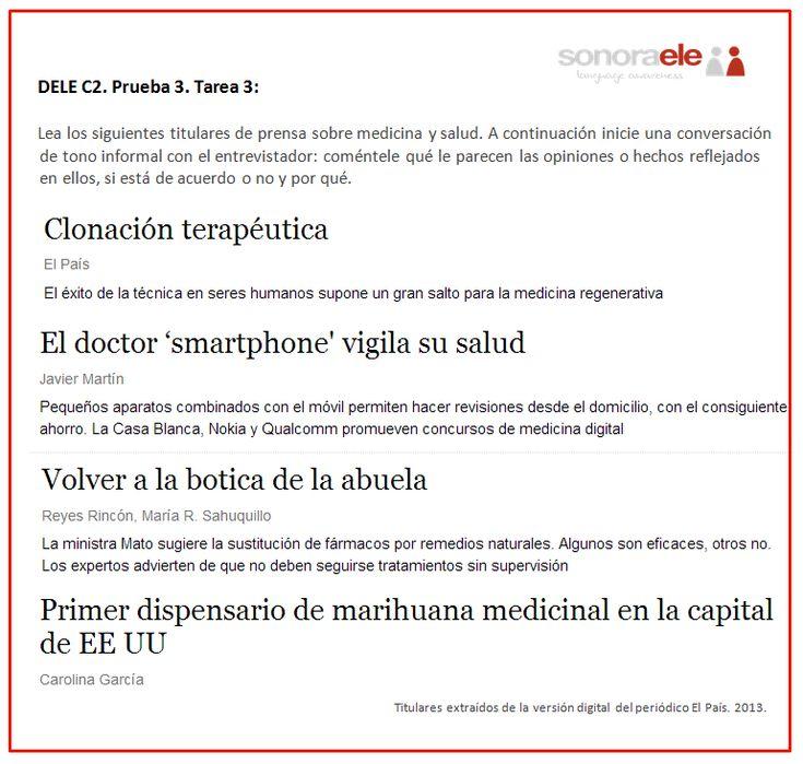 DELE C2. Prueba 3. Tarea 3. Titulares sobre medicina y salud.