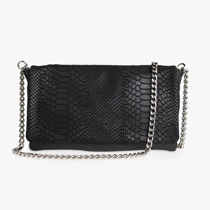 EMILY - BLACK SNAKE/CALF with Sophia chain. Add a tassel for a little extra.