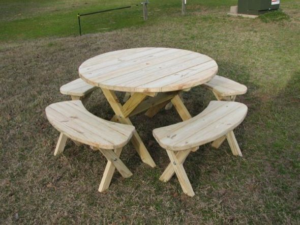 round picnic table just got an older one like this for free for the sunroom - Wood Picnic Table