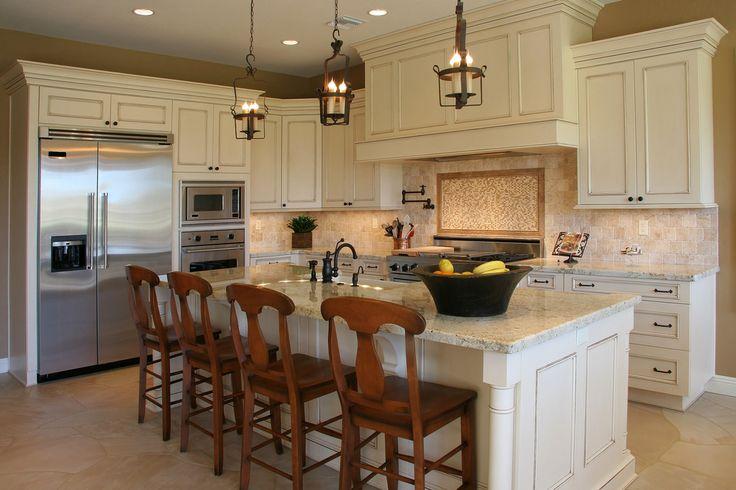 alabama white countertop | Glazed Merano cabinets with Colonial Cream granite