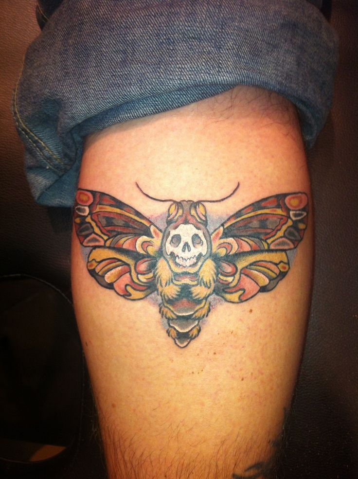 This is my deathshead hawk moth, and was done by Patrick Day at Enigma Tattoo in St. Louis MO.