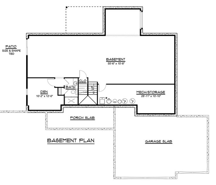 Colonial Craftsman Ranch House Plan 50719 Lower Level