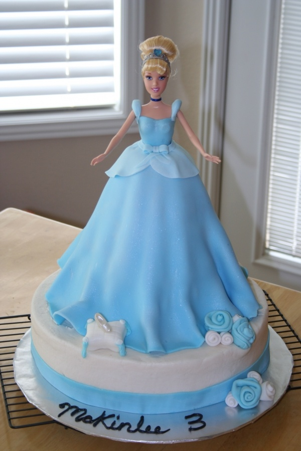 Cinderella Barbie Cake for beccas first birthday using broken barbie