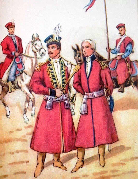 From left to right: the royal escort squadron officer (on horseback in the background), 1770., Hussar captain, general in hussar uniform, companion of the royal escort  squadron. Fig. B. Gembarzewski.