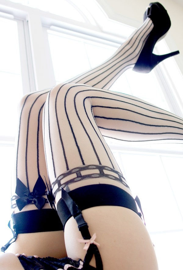 Pretty in Pinstripes Thigh-High Stockings