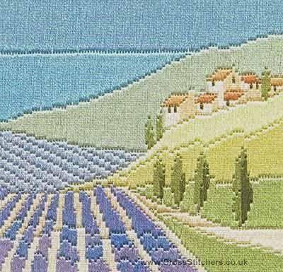 Lavender Fields - Silken Long Stitch (needlepoint) Kit from Derwentwater Designs
